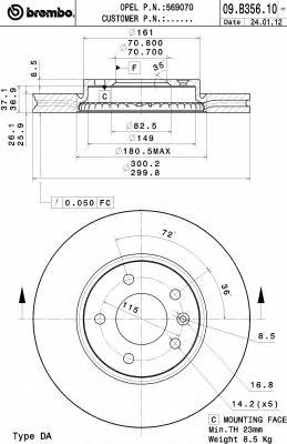 09B35610 Диск тормозной CHEVROLET CRUZE/OPEL ASTRA J R16 09- передний D=300мм.