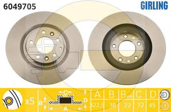 6049705 Диск тормозной MAZDA RX8 2.6 03-12 передний D=322мм.