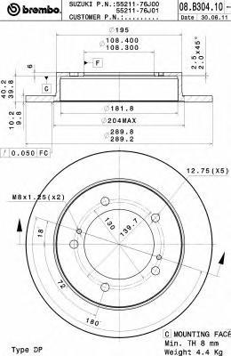 08B30410 Диск тормозной SUZUKI: JIMNY 0.7/0.7 4x4/1.0/1.3 16V/1.3 16V 4WD/1.3 16V 4x4/1.3 4x4 98-