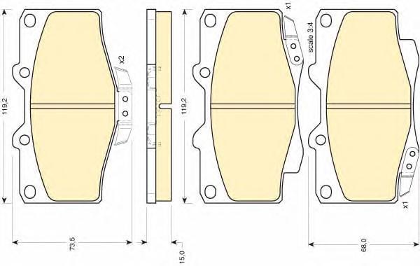 6107979 Колодки тормозные TOYOTA LAND CRUISER 70/80/90/4 RUNNER 87- передние