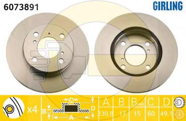6073891 Диск тормозной SUZUKI WAGON R+ 1.0 98-00 передний