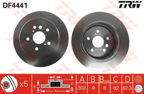 DF4441 Диск тормозной TOYOTA RAV 4 II 1.8-2.0 00-06 задний D=303мм.