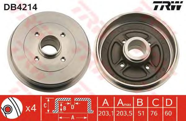 DB4214 Барабан тормозной RENAULT LOGAN/CLIO/MEGANE (d=203mm)