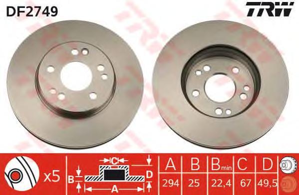 DF2749 Диск тормозной MERCEDES W124 320-500 92-98/W140 420 91-98 передний