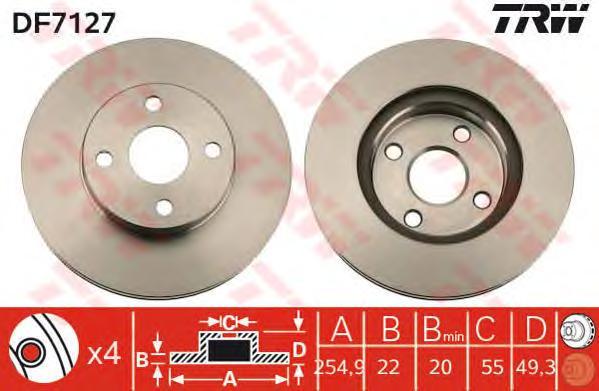 DF7127 Диск тормозной TOYOTA COROLLA (E12) 2.0D 04- передний D=255мм