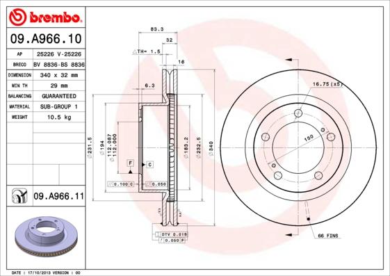09A96611 Диск тормозной TOYOTA LAND CRUISER J200/LEXUS LX570 08- передний вент.D=340мм.