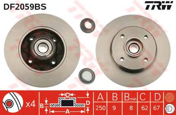 DF2059BS Диск тормозной CITROEN С3/C4/PEUGEOT 207/307 задний с подш.