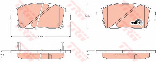 GDB3242 Колодки тормозные TOYOTA COROLLA/PRIUS/YARIS 1.0-1.6 99- передние
