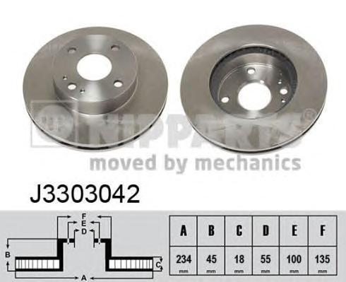 J3303042 Диск тормозной MAZDA 323 1.3-1.8 89- передний вент.D=235мм.
