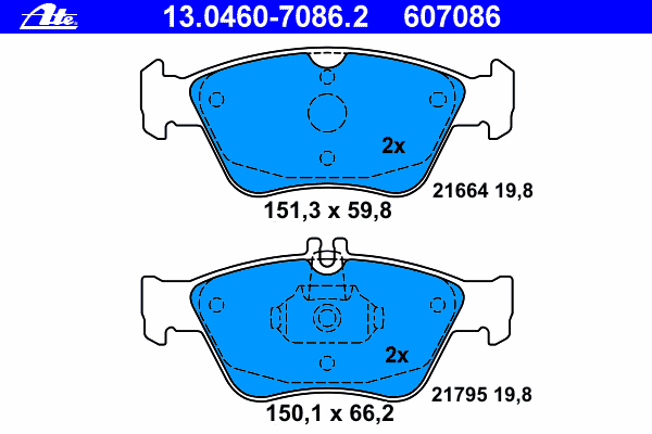 13046070862 Колодки тормозные дисковые передн, MERCEDES-BENZ: C-CLASS C 200 Kompressor/C 230 Kompressor/C 240/C 250 Turbo-D/C 28
