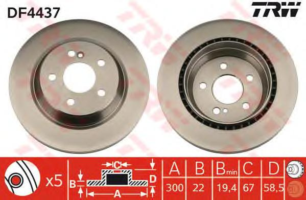 DF4437 Диск тормозной MERCEDES W220 3.2-5.0 99-05 задний D=300мм.