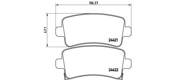 P59060 Колодки тормозные OPEL INSIGNIA 08-/SAAB 9-5 10- задние