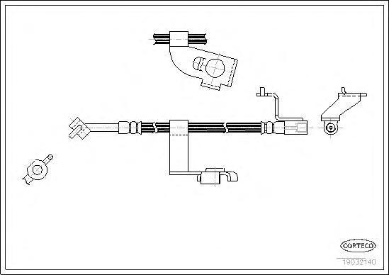 19032140 Шланг тормозной FORD: ESCORT -91 Express 1.3/1.4/1.8 D 90-94, ESCORT VI 1.4/1.6 i 16V/1.8 D/1.8 TD/1.8 i 16V/RS 2000 92