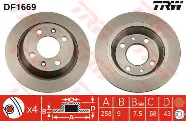 DF1669 Диск тормозной SAAB 900 80-94/9000 89-98 задний D=258мм.