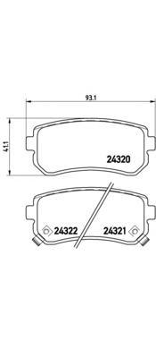 P30025 Колодки тормозные KIA CEED/RIO/SPORTAGE/HYUNDAI ACCENT/i20/i30/ix35 задние