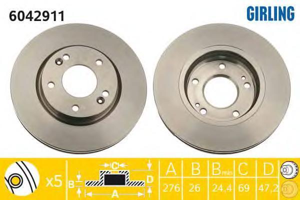 6042911 Диск тормозной HYUNDAI SANTA FE (SM) 01-/TRAJET 00- передний D=276мм.