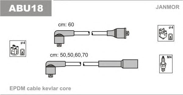 ABU18 Комплект проводов зажигания VW: GOLF 1.0/1.3 85-/VENTO 1.6