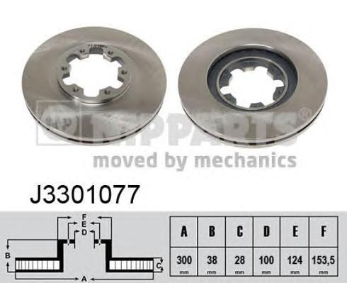 J3301077 Диск тормозной NISSAN PATHFINDER 97-04/PICK UP 98- передний вент.D=300мм.