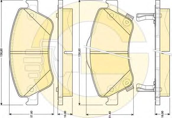 6134814 Колодки тормозные TOYOTA AURIS 1.33-2.2 07- (Великобритания) передние