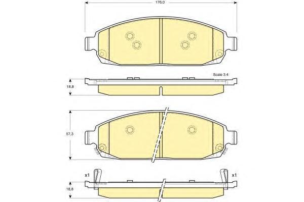 6141369 Колодки тормозные JEEP COMMANDER 3.0-5.8 05-/GRAND CHEROKEE 2.7-5.7 00- передние