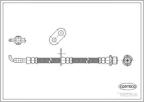 19033536 Шланг тормозной LEXUS: RX 3.3 AWD/300/350 AWD/400h/400h AWD 03-08