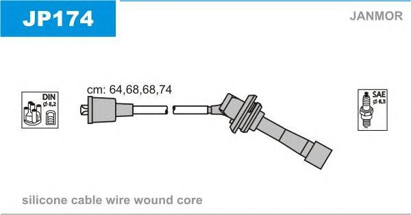 JP174 Комплект проводов зажигания SUBARU: FORESTER 02-, LEGACY II 94-99, LEGACY II универсал 94-98,