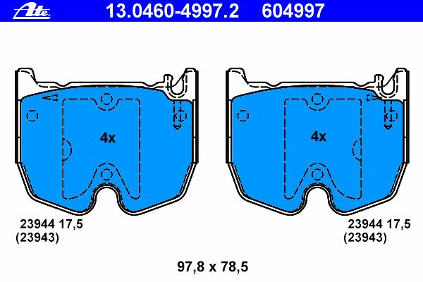 13046049972 Колодки тормозные дисковые передн, MERCEDES-BENZ: CLS CLS 55 AMG 04-10, E-CLASS E 55 AMG Kompressor 02-08, E-CLASS T