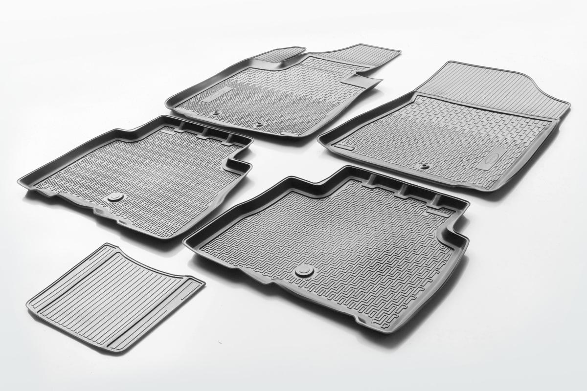 0012804001 Комплект автомобильных ковриков Kia Sorento II 2012- , полиуретан, низкий борт, 5 предметов, крепеж для передних ковр