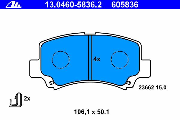 13046058362 Колодки тормозные дисковые передн, SUZUKI: WAGON R 1.0 03-05, WAGON R+ 1.0/1.2/1.2 4WD 97-00, WAGON R+ 1.0 XT Plus 0