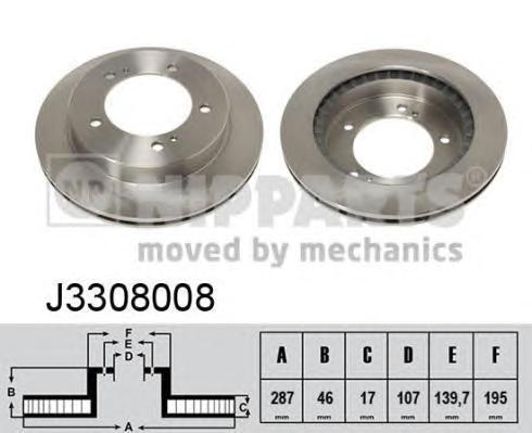 J3308008 Диск тормозной SUZUKI JIMNY 1.5D 03-/VITARA 1.6-1.9 90-98 передний D=287мм.