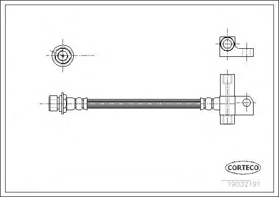 19032191 Шланг тормозной FORD: P 100 II 1.8 TD/2.0 87-92, TRANSIT c бортовой платформой 2.0/2.5 DI/2.5 DI/2.5 DI/2.5 TD/2.5 TD 9