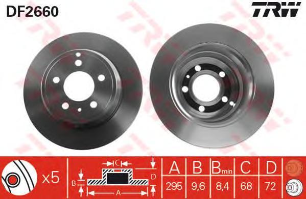 DF2660 Диск тормозной VOLVO 850 91-96/S70/V70 97-00 задний D=295мм.