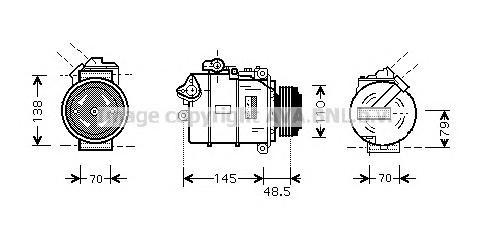 BWAK309 Компрессор кондиционера BMW: 3 (E46) 320 I/325 I/325 XI/330 I/330 XI 98-05, 3 COMPACT (E46) 325 TI 01-05, 3 TOURING (E46