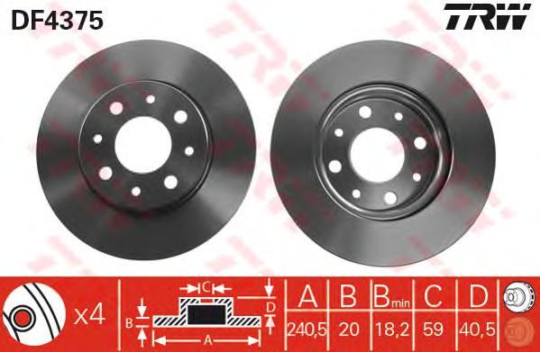 DF4375 Диск тормозной FIAT 500 07-/PANDA 03-/FORD KA 08- передний вент.