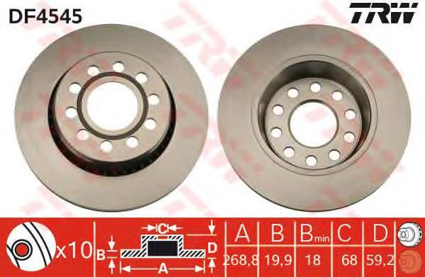 DF4545 Диск тормозной AUDI 100 90-94/A6 94-97 quattro задний D=269мм.
