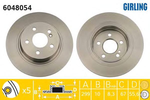 6048054 Диск тормозной MERCEDES W204 180-300 07- задний D=300мм.