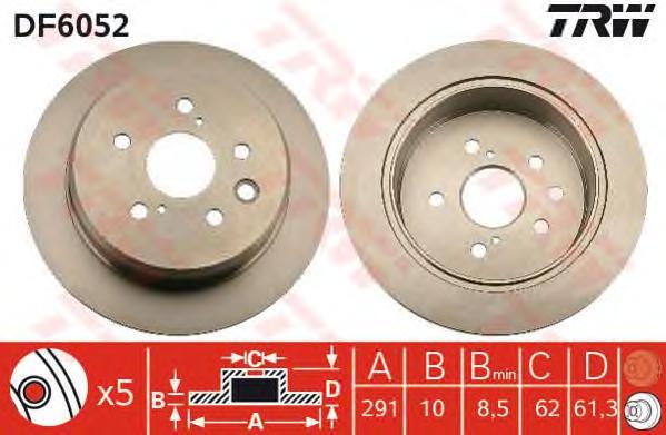 DF6052 Диск тормозной LEXUS IS 2.2-2.5 05- задний