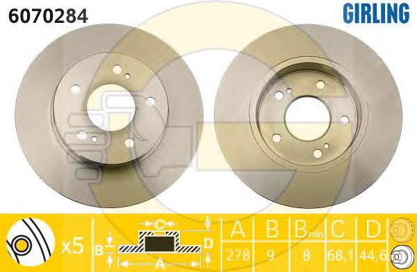 6070284 Диск тормозной NISSAN MAXIMA QX 95- задний D=278мм.
