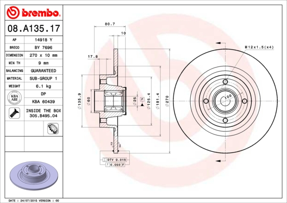 08A13517 Диск тормозной RENAULT MEGANE II/SCENIC II 03- задний с подшипником