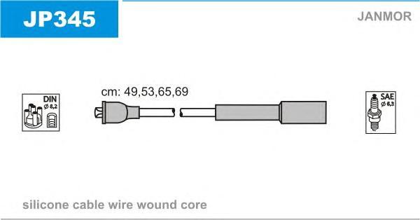JP345 Комплект проводов зажигания MAZDA: 323 C V 94-98, 323 P V 96-98, 323 S IV 89-94, 323 S V 94-98