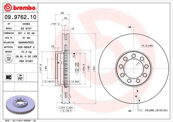 09976210 Диск тормозной IVECO DAILY IV 06- передний вент.D=300мм.