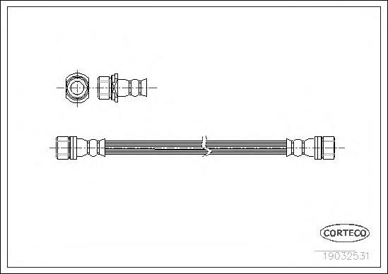 19032531 Шланг тормозной Re 375мм TO