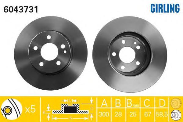 6043731 Диск тормозной MERCEDES VIANO/VITO W639 2.0-3.7 03- передний вент.