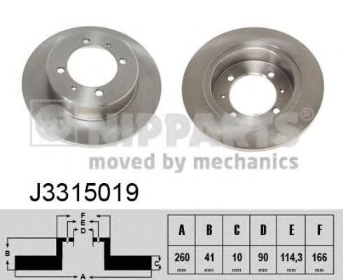 J3315019 Диск тормозной MITSUBISHI CARISMA 9503 R14/VOLVO S40/V40 9503 задний