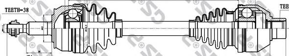 261084 Привод в сборе VW TRANSPORTER V 2.5TDI 03-09 лев. МКПП