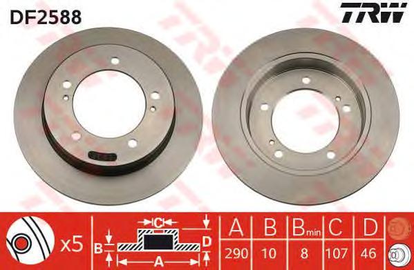 DF2588 Диск тормозной SUZUKI JIMNY 1.3 98-/SAMURAI 88-/VITARA 1.6-1.9 88-98 передний