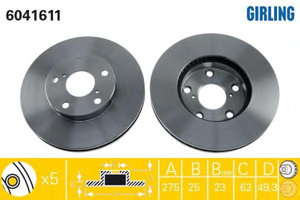 6041611 Диск тормозной TOYOTA RAV 4 II 1.8/2.0 00-06 передний вент.