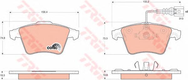 GDB1651 Колодки тормозные VOLKSWAGEN TOUAREG R16 03 передние