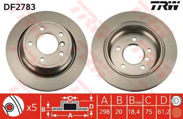 DF2783 Диск тормозной BMW 5 E39 520-540 95-04 задний D=298мм.