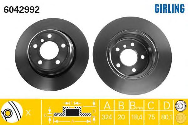 6042992 Диск тормозной BMW X5 E53 00- задний вент.D=324мм.